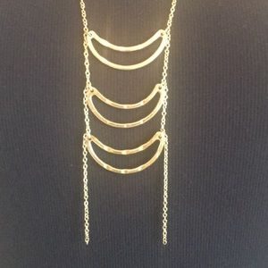 Goldtone Anthropologie ladder necklace